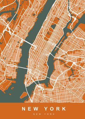Map New York US