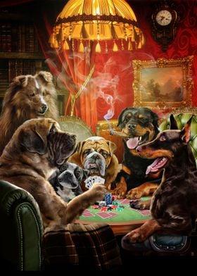 Dog Playing Poker Game