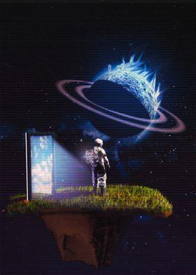 Astronaut On  Space Island