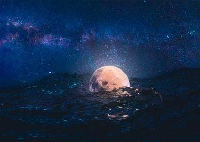 Floating Moon in Ocean