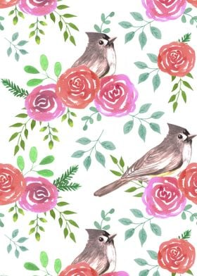 Tufted titmouse and roses