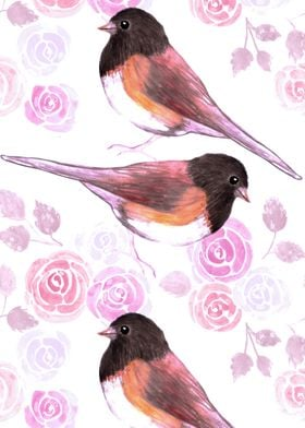 Juncos and pink roses