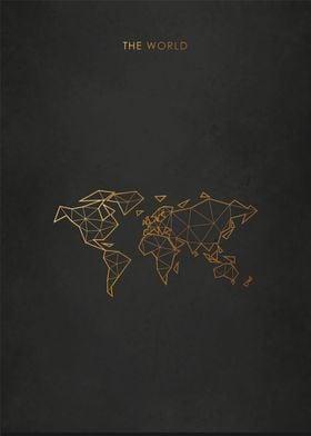 Gold World Map Minimal