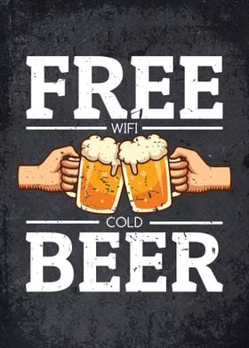 Free Wifi Cold Beer Sign