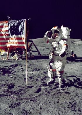 On the Moon beside US flag