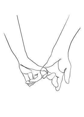 One Line Holding Hands