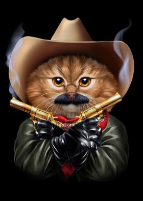 Cowboy Cat with Mustache