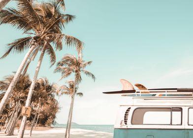 Retro Van Camper Surfboard