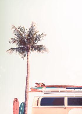 Retro Camper Van Palm Surf