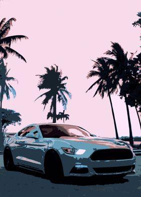 Mustang Retro Vibe Art