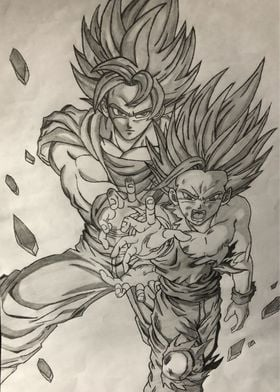 Gohan and Goku drawing