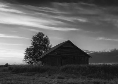 Old Barn House In Sunset