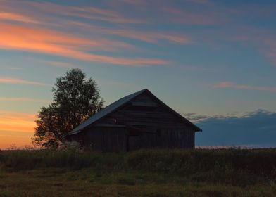 Old Barn In The Sunset