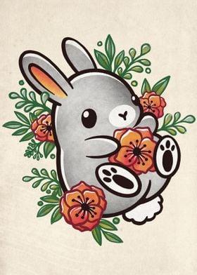 Floral cute bunny