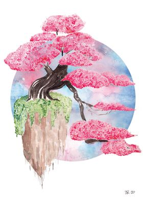 Watercolor flying sakura