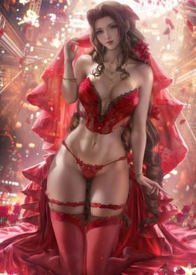 Aerith Red Gown Lingerie