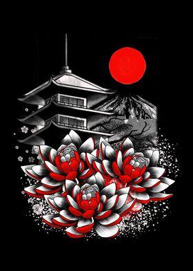 Asian Geisha Japan Lotus