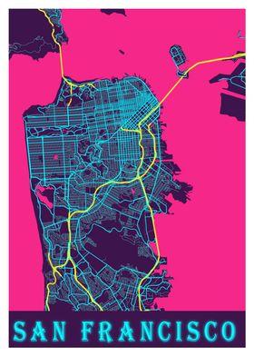 San Francisco Neon Map