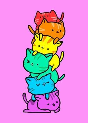Gay Pride Cat Pile