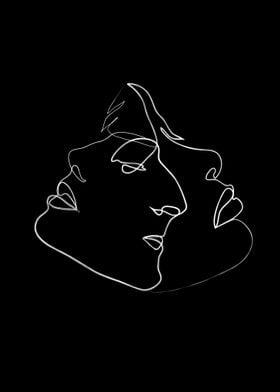 Three faces white on black
