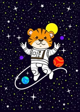 Tiger Astronaut In Space