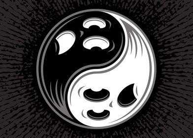 Ghost Yin Yang Black and W