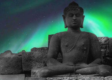 Buddha statue by night