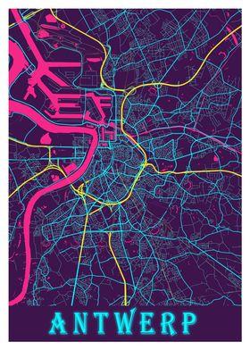 Antwerp Neon City Map