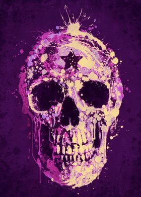 Splatter Skull Purple Pink