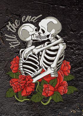 Love roses skull