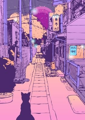Japan Cat Street City Pop