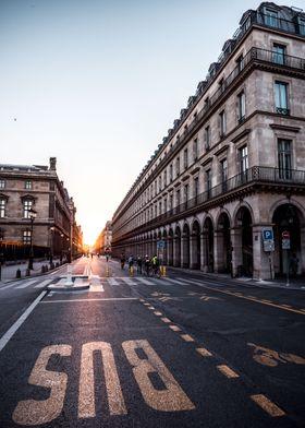 Paris street in sunset
