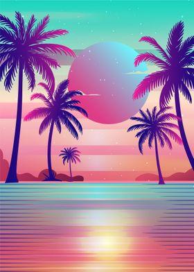 Palm Trees Vaporwave