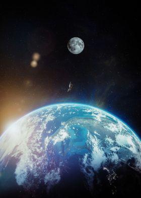 Astronaut flying to moon
