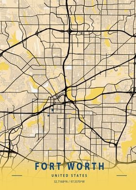 Fort Worth Yellow City Map