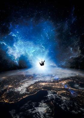 Astronaut falling on Earth