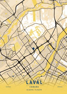 Laval Yellow City Map
