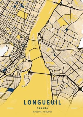 Longueuil Yellow City Map