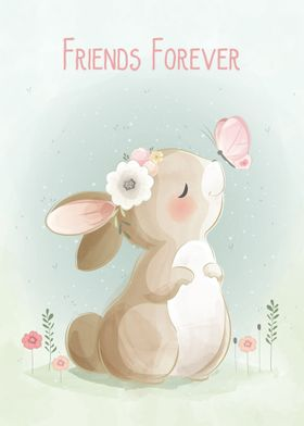 Cute Bunny and Butterfly