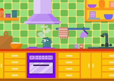 Cute Kitchen Illustration