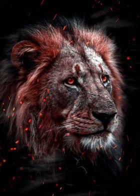 fire lion head work art
