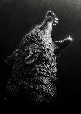 angry black wolf headpaint