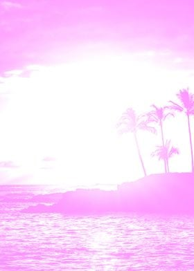 Pink Beach Palm Tree
