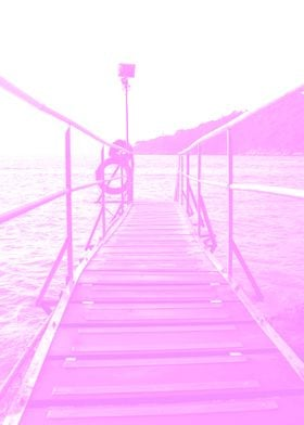 Pink Bridge Sea Poster