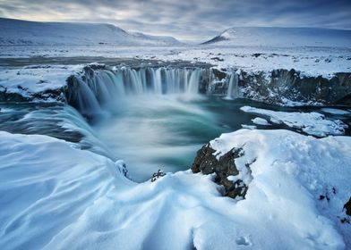 Waterfall Iceland Winter