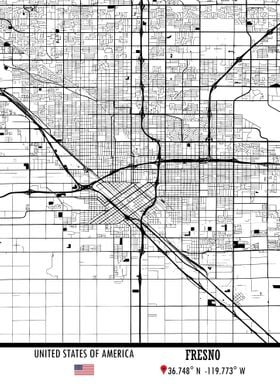 Fresno USA Map