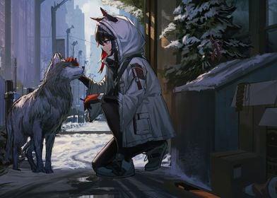 Cute anime girl with husky