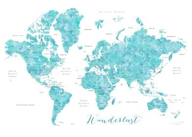 Aqua wanderlust world map