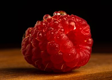 Raspberry with water drops