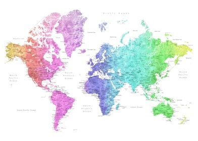Jude colorful world map